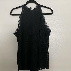 Black Lacy Halter Top